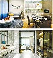 KSK置地推出高級公寓品牌YOO8 serviced by Kempinski,共有498伙,面積700呎起。圖為2房戶示範單位。(公司提供)