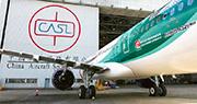 負責提供飛機航線及基地維修、機艙清潔等的中飛服務繼4月裁員後,昨再裁員160人,佔總員工人數約17%。圖為中飛服務於香港機場的停機坪。