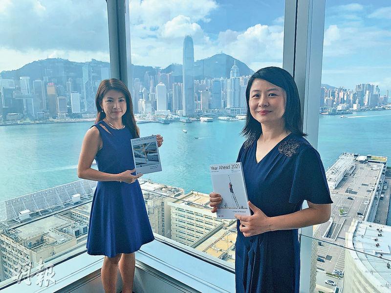 瑞銀財富管理亞太區投資總監及首席中國經濟學家胡一帆(右)認為,中國GDP規模至2035年料再翻一番。左為瑞銀財富管理投資總監辦公室香港股票主管李智穎。