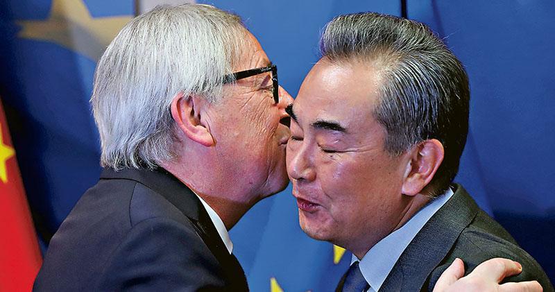 國務委員兼外交部長王毅(右)歐盟委員會主席容克(左)