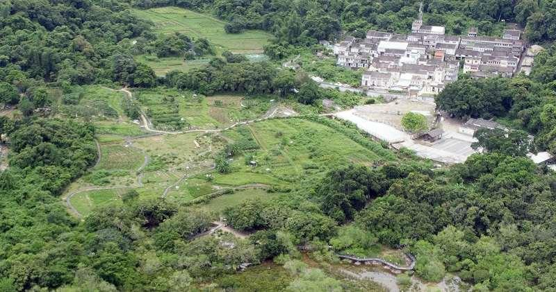 圖為荔枝窩鄉郊文化景觀的俯瞰圖