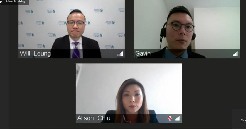 (左上)渣打銀行香港財富管理投資策略主管梁振輝