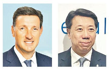 英媒報道,渣打現任企業、商業及機構銀行業務主管顧世民(左)為下任行政總裁的大熱人選,呼聲較亞洲地區行政總裁洪丕正(右)更高。