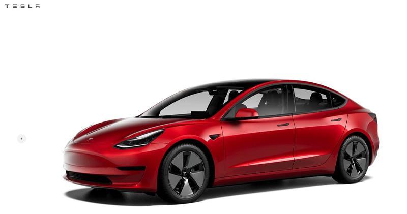Model 3 標準續航升級版(截圖自公司官網)