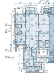 維港滙III標準樓層B單位平面圖,實用1001方呎,三房一套連多功能房間隔(資料來源:維港滙III樓書)