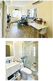 創下屋苑呎價歷史新高的沙田第一城一個2房連天台單位。據代理提供照片,可見單位裝修新淨,採簡約風格。其浴室面積雖然不大,但感覺時尚。