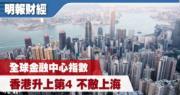 全球金融中心指數 香港升上第4 排名在上海之後