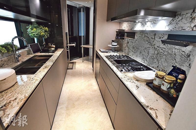 廚房採用雙邊廚櫃設計,並提供摺合式工作枱。(劉焌陶攝)