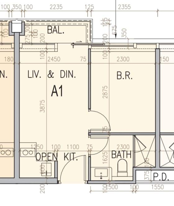 ONE SOHO 12樓至29樓A1單位平面圖,實用285方呎一房間隔,採開放式廚房設計。