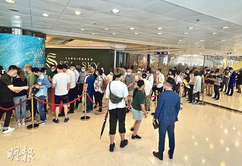 已獲批入伙紙的長實將軍澳日出康城SEA TO SKY,昨日於紅磡置富都會的項目售樓處推售171伙餘貨單位,吸引不少買家到場,單日售出約65伙,套現約9.4億元。