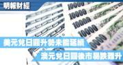 【有片:埋身擊】美元兌日圓升勢未能延續 澳元兌日圓後市易跌難升