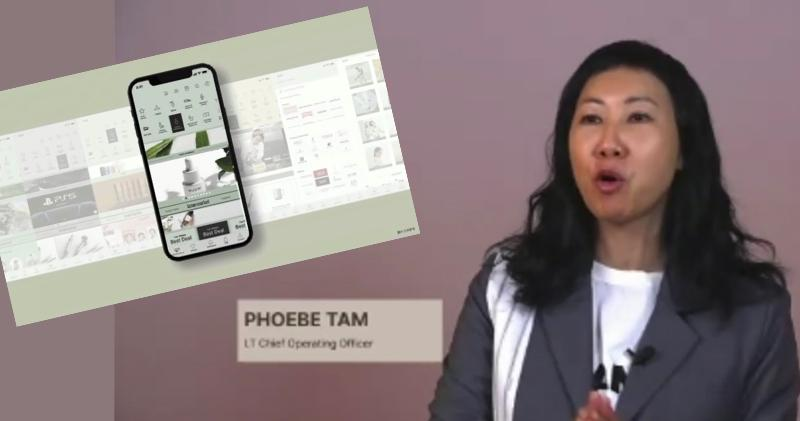 港視與I.T合作的網上商場11月開幕。圖為I.T首席營運官譚淑儀,小圖為港視與I.T合作的網上商場手機介面。