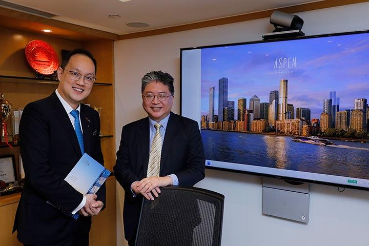 遠東發展與FMI至匯投資攜手合作為香港買家帶來更多優惠。圖為孔祥達(右)及李丹翔。