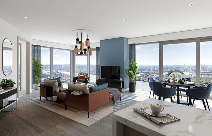 項目以高樓底及全落地玻璃設計,空間感十足,可飽覽倫敦優美景緻。