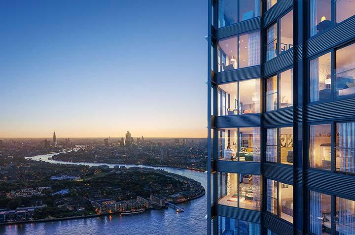 樓高63層,是金絲雀碼頭最高住宅項目,可飽覽三面倫敦河景。