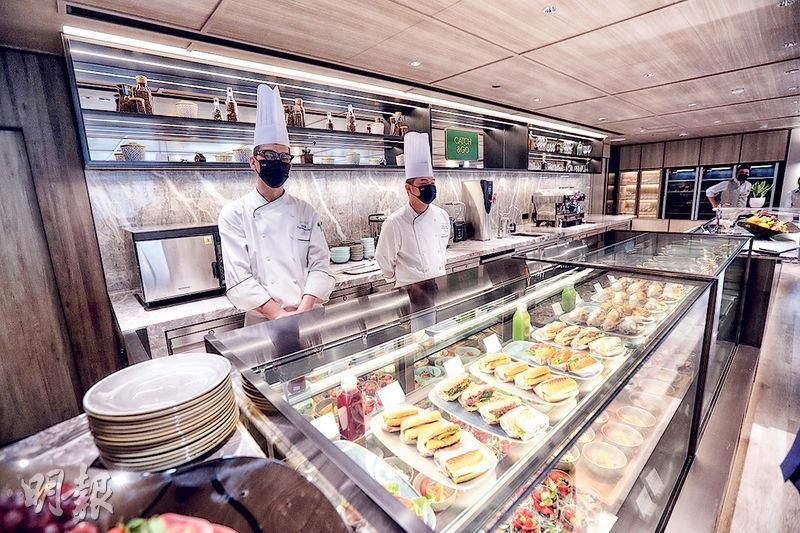 Centricity Flex設有餐飲區Catch & Go,由文華東方酒店集團前行政總廚及其團隊策劃及管理,並設有24個座位。(李紹昌攝)