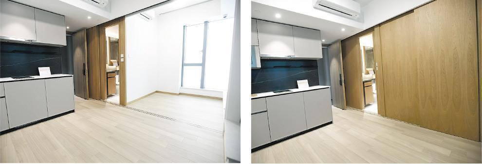 客廳及房間以趟門分隔,趟門打開後可令房間及客廳空間打通。住戶能善用空間之餘,更增添靈活度。(劉焌陶攝)