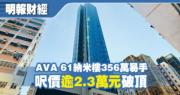 AVA 61納米樓356萬易手 呎價逾2.3萬元破頂