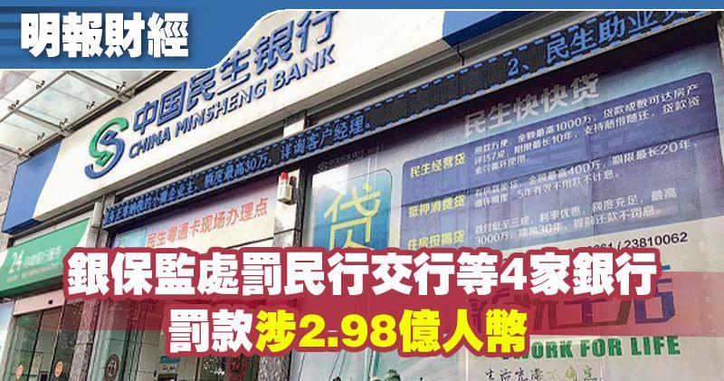 銀保監處罰民行交行等4家銀行 罰款涉2.98億人幣