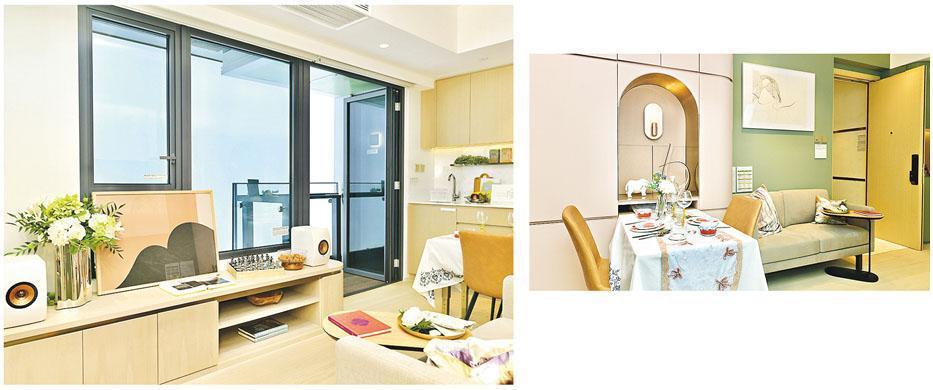 芳菲開放的示範單位為28樓C室,設計融合了西班牙巴塞隆拿的色彩元素。(鍾林枝攝)