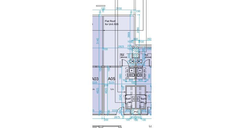 薈藍2樓A05室平面圖,實用181方呎,開放式間隔,連172方呎平台