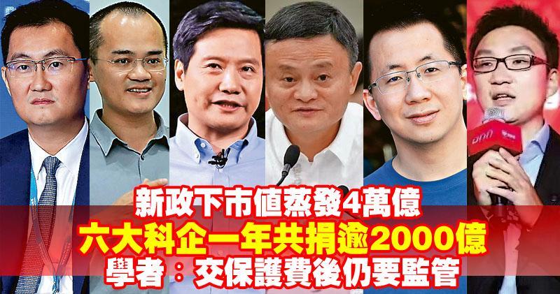 中國六大科企一年共捐逾2000億 學者︰交「保護費」後仍要監管