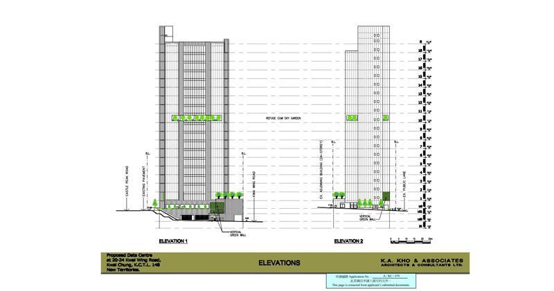 方氏家族持有葵涌華昌工業大廈,改劃數據中心立面圖。(資料來源:城規會文件)