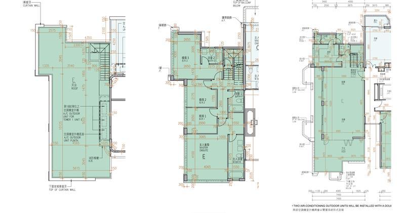 1座17及18樓E室平面圖,實用1992方呎,連天台及平台