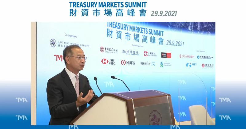金管局總裁余偉文表示,正在研究擴大人民幣在股市交易中使用。 (網上截圖)