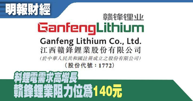 【選股王】料鋰電需求高增長 贛鋒鋰業阻力位為140元