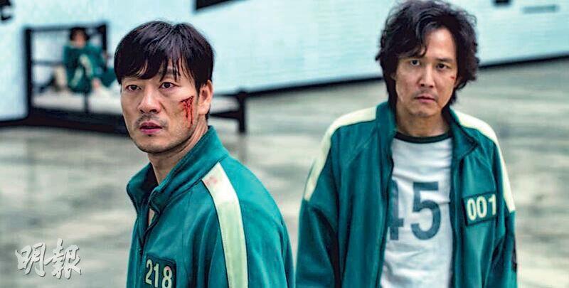 由李政宰(右)及朴海秀(左)等韓星主演的劇集《魷魚遊戲》全球熱播,帶動Netflix股價創新高。