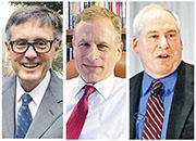 聯儲局副主席克拉里達(左圖),與兩名剛宣布請辭的聯邦公開市場委員會(FOMC)委員達拉斯聯儲銀行長卡普蘭(中圖)及波士頓聯儲銀行長羅森格倫(右),都在聯儲局去年因應新冠疫情推出緊急措施期間,進行過大規模的金融交易。(資料圖片)