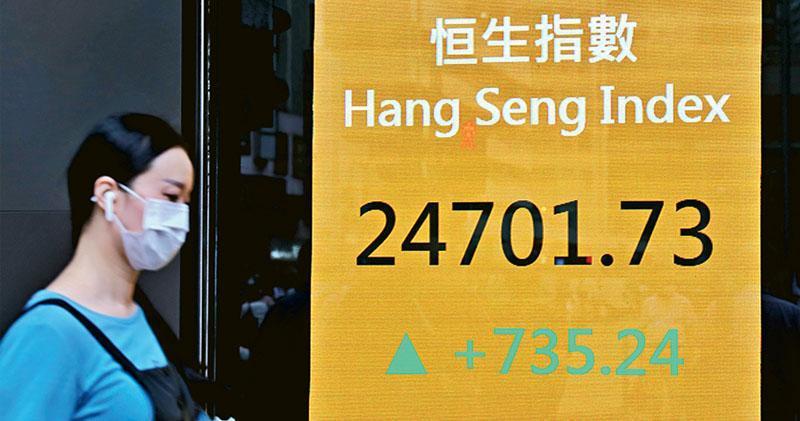 恒指昨日強勢反彈,大升735點,收報24701點。金融、地產、醫藥多個板塊各自開花。(中通社)