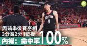 【中國第4人】周琦季後賽上陣3分鐘得2分  內媒大讚「100%命中率」