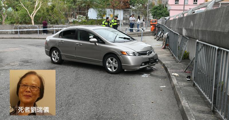 涉事私家車將70歲老婦劉瑞儀撞斃。(衛永康攝/明報製圖)