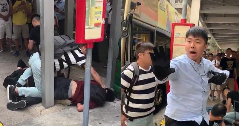 兩名疑似休班警員下午在樂華邨巴士站制服兩名青年(左圖),其後一名警員被現場市民要求出示委任證(右圖)。(讀者提供/明報製圖)