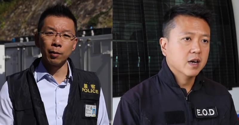 警察公共關係科警司劉肇邦(左)、警方炸彈處理主任李展超(右)(警方fb影片截圖)