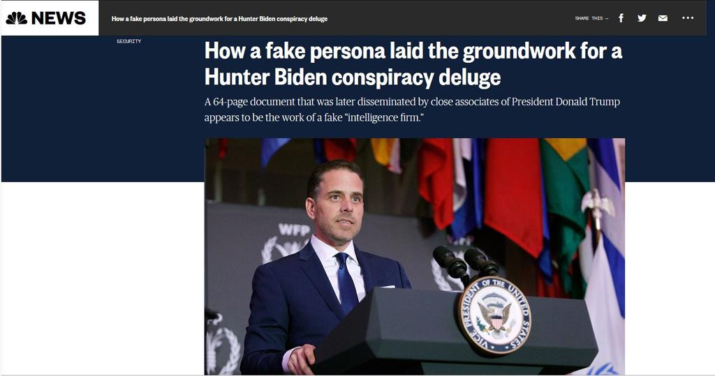 NBC新聞網報道,日前網上流傳一份關於美國民主黨總統候選人拜登的兒子亨特在中國事業的64頁調查報告,可能涉及造假。(NBC新聞網截圖)