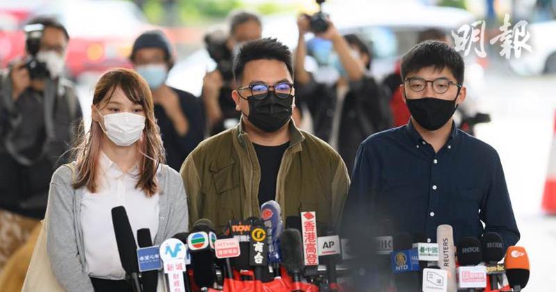 前香港眾志成員周庭(左起)、主席林朗彥、秘書長黃之鋒(資料圖片)