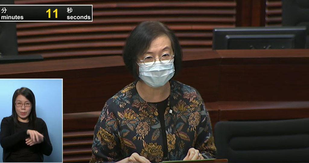 食物及衞生局局長陳肇始表示,不排除緊急立法使用新型冠狀病毒疫苗,醫護人員、長者等優先接種。(立法會影片截圖)