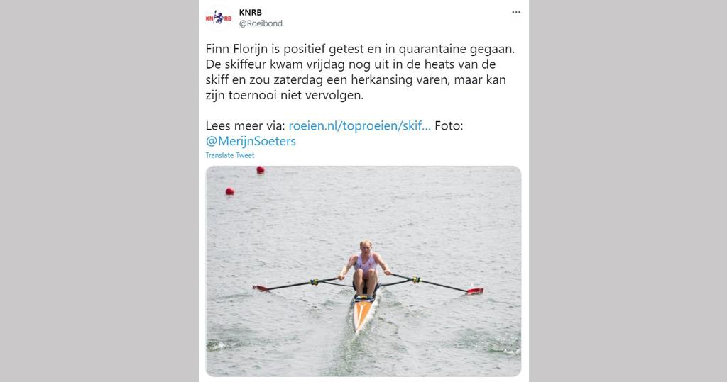 荷蘭皇家賽艇協會公布弗羅林確診。(荷蘭皇家賽艇協會Twitter截圖)