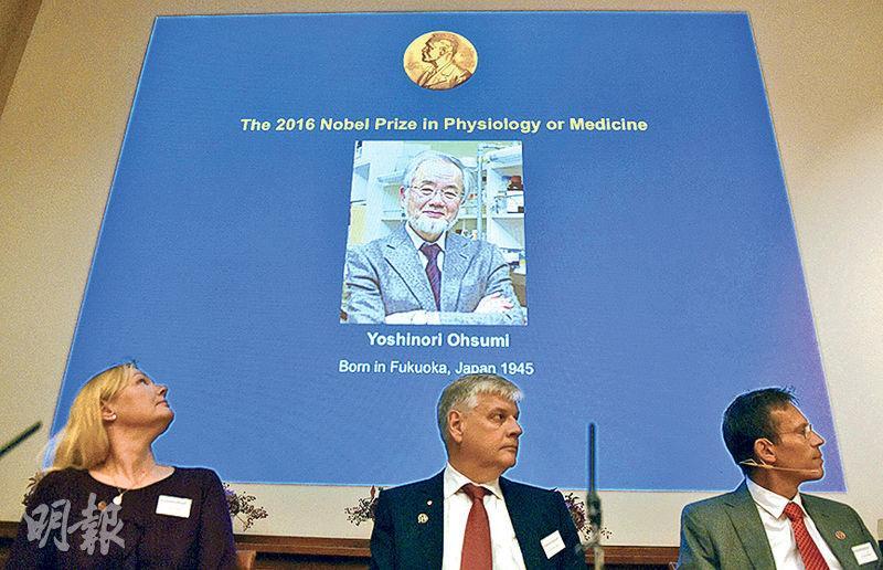 諾貝爾獎委員會人員昨在瑞典斯德哥爾摩宣布,日本學者大隅良典獲得本年度醫學獎。(法新社)