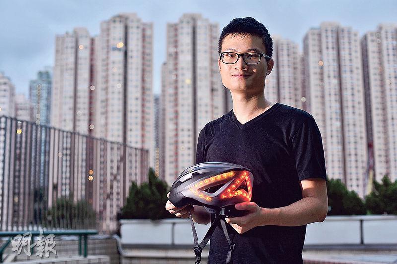連用3小時——Jeff手上的Lumen智能單車頭盔,重量410g,比一般單車頭盔(約315g至340g)略重,充滿電約需2小時,可使用約3小時。(圖﹕馮凱鍵)