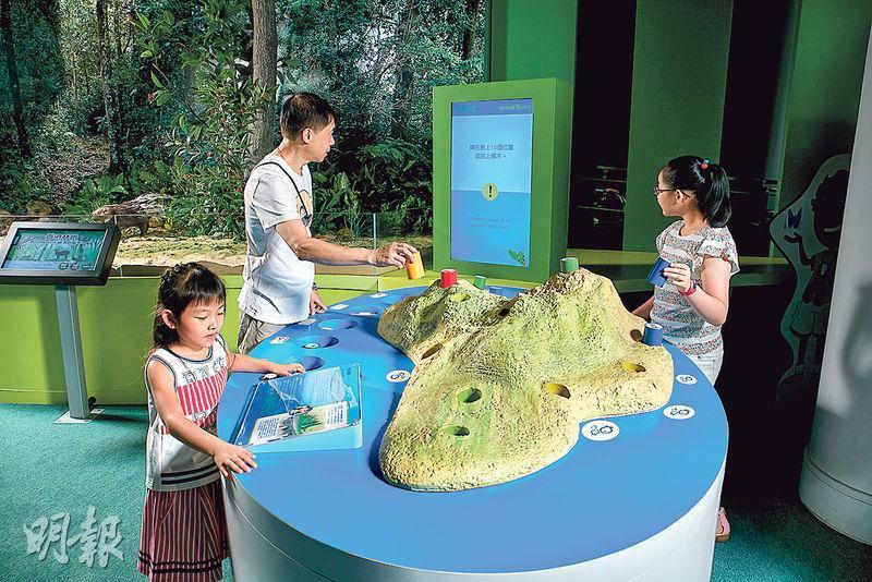 展區有島嶼規劃遊戲,玩家將分別代表農業、工業、保育用途等積木放在島嶼不同地方,電腦會提示玩家其決定是否精明。遊戲採無線射頻識別系統(RFID)感應積木位置。(科學館圖片)