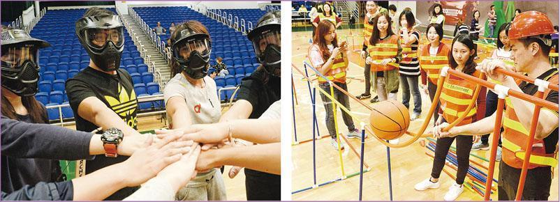 集體遊戲講求隊員的協作能力,可以訓練團隊合作、破冰或解難等。左圖為隊員在玩「攻防箭」遊戲前激勵士氣,右圖為參加者在「過山車」遊戲中合作建成軌道讓籃球通過。