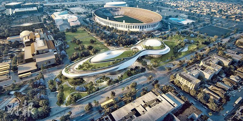 「星戰之父」佐治魯卡斯的「敘事藝術博物館」設計圖(上圖)顯示,該館外形恍如太空船。(法新社)