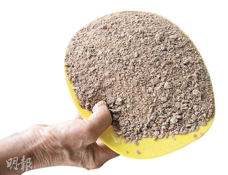 有機肥料——囍姐堅持有機耕作,只用花生麩粉作肥料。