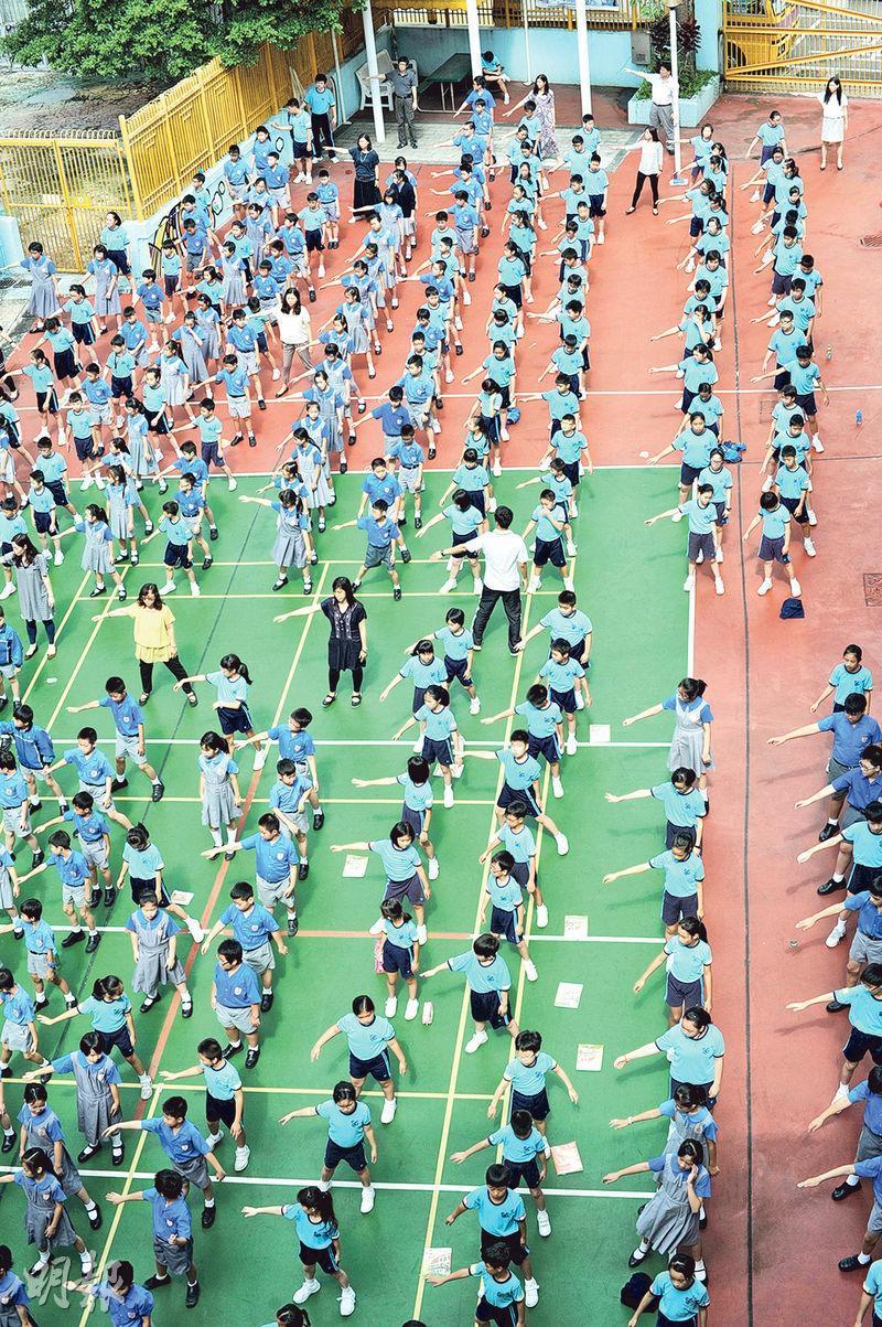 聖公會聖約瑟小學周一至周四都會有早操時間,讓全校師生一起做運動5分鐘。(聖公會聖約瑟小學提供)