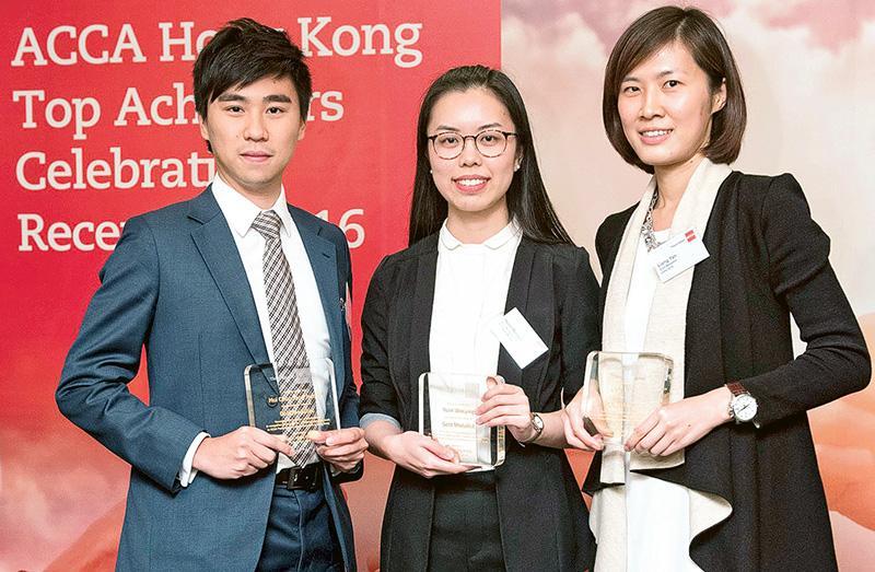 左至右:許駿騰、袁文穎及梁燕
