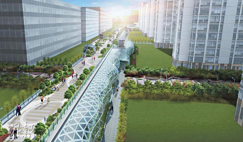 土木工程署的構思圖顯示,啟德承豐道上方將興建長1.4公里的空中園景走廊平台(圖中),並設有大面積的綠化空間,以作為前跑道休憩用地的中軸。